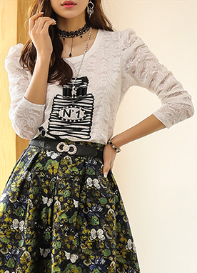 Perfume Print Floral Lace Tee, Styleonme