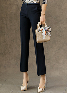 Slim Straight Leg Slacks, Styleonme