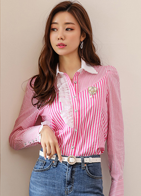 Vivid Pink Pinstripe Frill Collared Blouse, Styleonme
