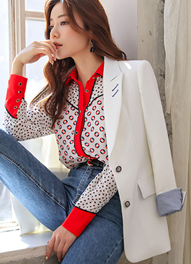 Vivid Color Two Button Tailored Jacket, Styleonme