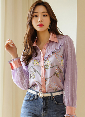 Luxury Perfume Print Stripe Lace Collared Blouse, Styleonme