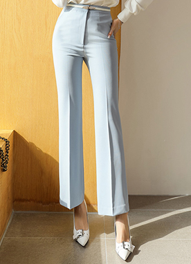 Pastel Tone High-Waisted Boot-Cut Slacks, Styleonme