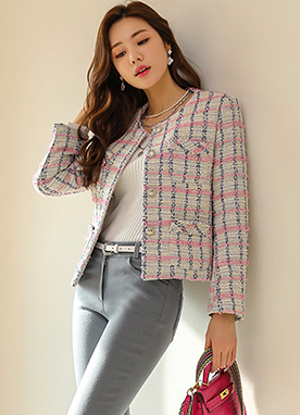 Fringe Mix Color Check Tweed Jacket, Styleonme