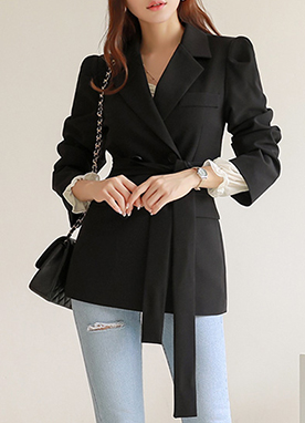Puff Sleeve Double-Breasted Jacket, Styleonme