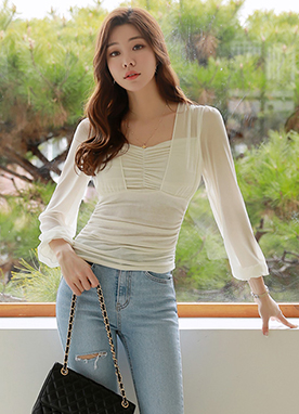 Chiffon Shirred Squared Neck Tee, Styleonme