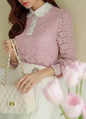 Pink Rose Lace Collared Blouse, Styleonme