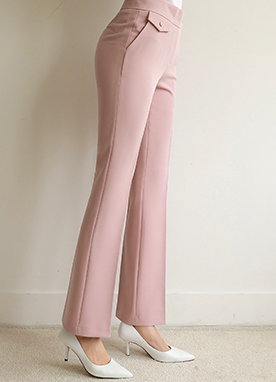 Soft Pocket Detail Boot-Cut Slacks, Styleonme
