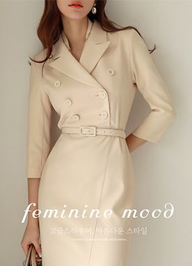 Slim Double-Breasted Tailored Dress, Styleonme