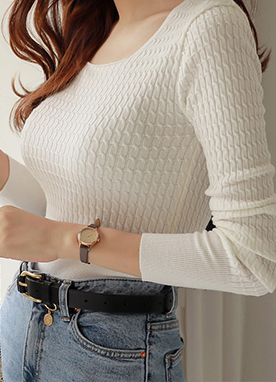 Squared Neck Cable Knit Top, Styleonme