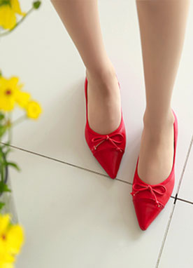 Ribbon Pointed Flat Shoes, Styleonme