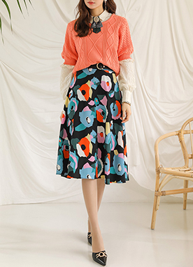 Colorful Floral Mosaic Flared Skirt, Styleonme