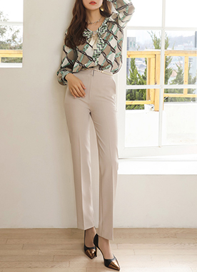 Soft Color Elastic Waistband Boot-Cut Slacks, Styleonme