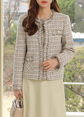 Fringe Trim Tweed Jacket, Styleonme