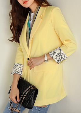 Letter Print Cuff Tailored Jacket, Styleonme