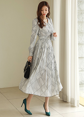 Geometric Print Belted Pleated Long Dress, Styleonme