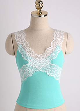 Cross Lace Detail Ribbed Camisole Top, Styleonme