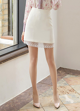 Lace Hem Mini Skirt, Styleonme