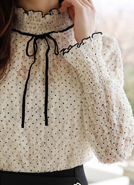 See-through Polka Dot Lace Ribbon Tie Blouse, Styleonme
