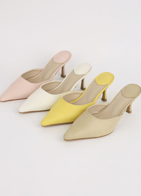 Spring Color Pointed Mule Heels, Styleonme