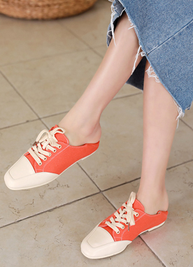Spring Color Squared Toe Sneakers, Styleonme