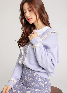 Sweet Color Lace V-Neck Knit Cardigan, Styleonme