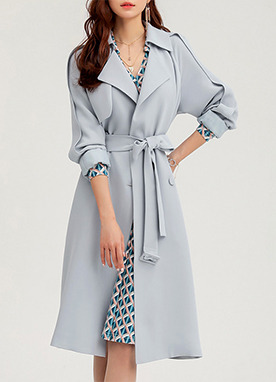 Soft Blue Sleeve Detail Trench Coat, Styleonme