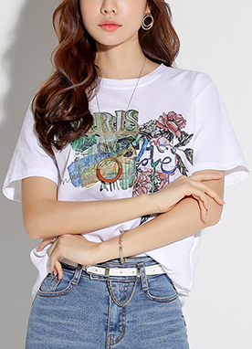 Sequin Flower Collage Print T-Shirt, Styleonme