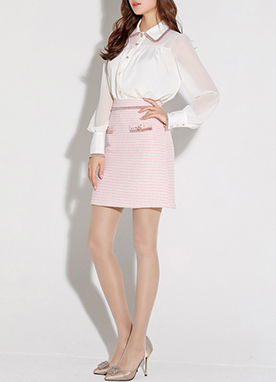 Pink Tweed Mini Skirt, Styleonme