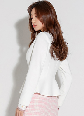 Collarless Tailored Jacket, Styleonme