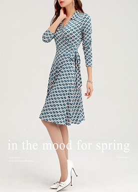Ethnic Spring Print Wrap Collared Dress, Styleonme