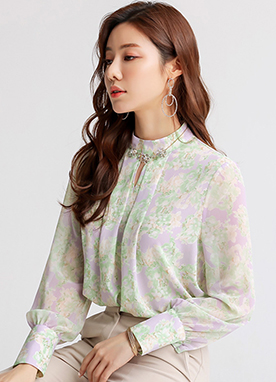 Pastel Floral Print Keyhole Blouse, Styleonme
