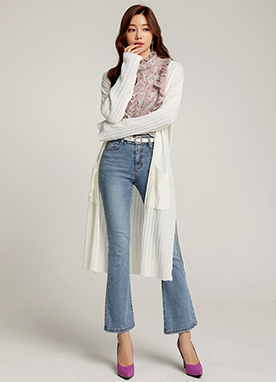 Side Slit Open-Front Long Cardigan, Styleonme