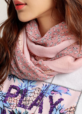 Floral Lace Fabric Mix Long Scarf, Styleonme