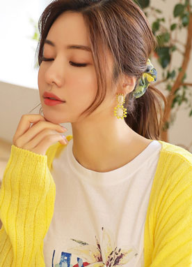 Yellow Squared Earrings, Styleonme