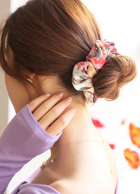 Watercolor Print Scrunchie Hair Tie, Styleonme