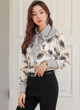 Luxury Tassel Mix Print Collared Blouse, Styleonme
