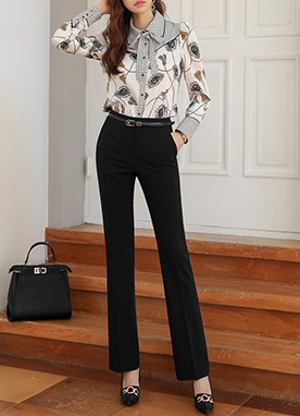Classic Long Boot-Cut Slacks, Styleonme