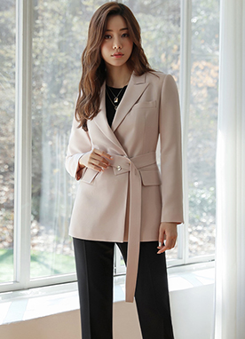 Natural Chic Belt Strap Tailored Jacket, Styleonme