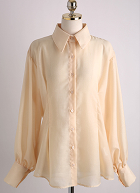 See-through Balloon Sleeve Collared Blouse, Styleonme
