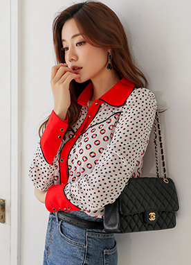Square Dots Mix Print Collared Blouse, Styleonme