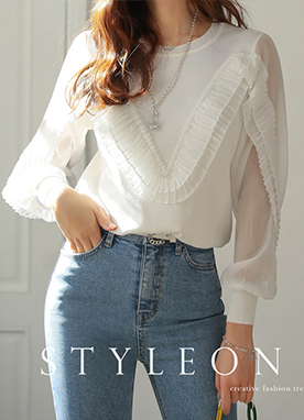 Pleated Detail See-through Sleeve Knit Tee, Styleonme