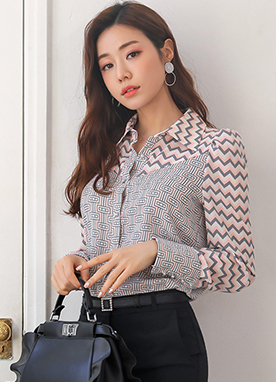 Zig-Zag Mix Print Ribbon Tie Collared Blouse, Styleonme