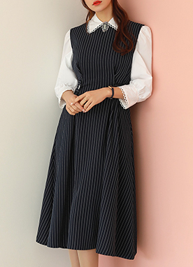 Pinstripe Sleeveless Flared Dress, Styleonme