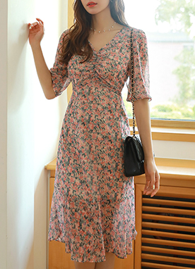 Watercolor Floral Print Shirred Chiffon Dress, Styleonme