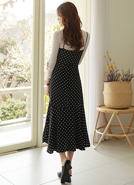 Polka Dot Thin Strap Mermaid Hem Dress, Styleonme
