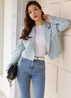 Puff Shoulders Double-Breasted Short Jacket, Styleonme