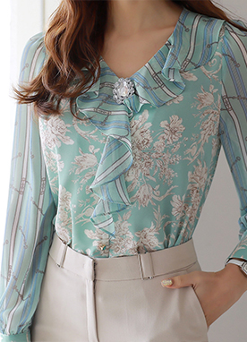 Floral Mix Print Ruffle V-Neck Blouse, Styleonme