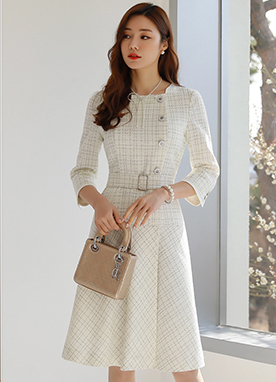 Classic Belt Set Tweed Dress, Styleonme