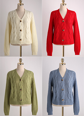 6Color V-Neck Cable Knit Cardigan, Styleonme