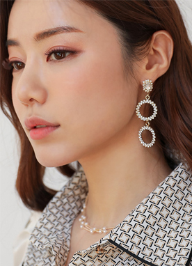 Double Cubic Circle Drop Earrings, Styleonme